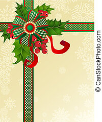 holly - vector illustrations - christmas decor and symbols