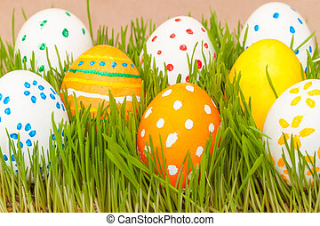 eight easter eggs in spring grass