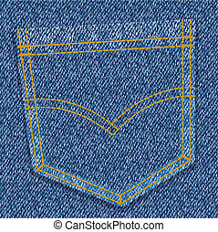 jeans pocket - vector illustration - blue jeans pocket