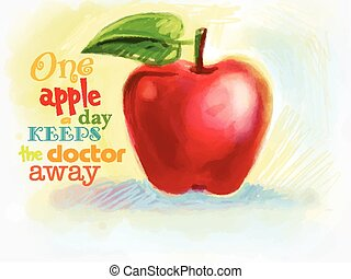 red juicy apple drawn with crayons. Poster with red...
