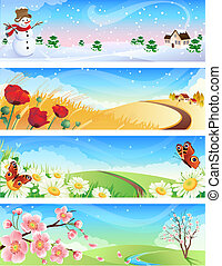 four seasons - Vector illustration - four seasons landscapes