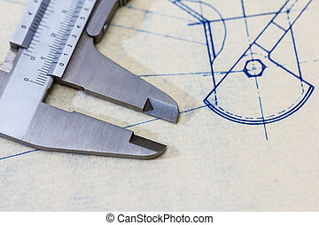 Very detailed mechanical engineering blueprint with gauge /...