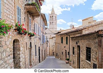 Medieval Italian street - Narrow medieval street in the hill...