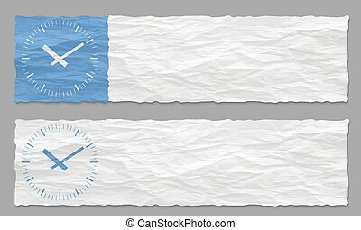 set of two banners with crumpled paper and watches