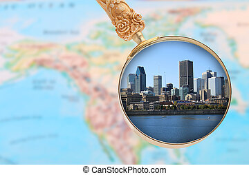Looking in on Montreal Canada with map of North America in...
