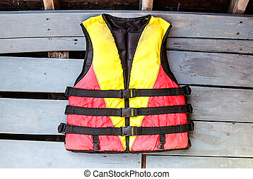 old life jackets on the floor wooden boat.