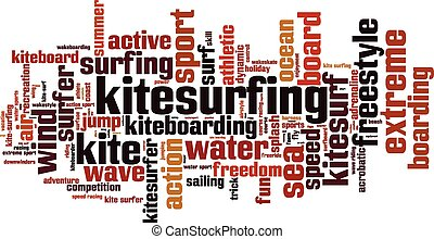 Kitesurfing word cloud concept. Vector illustration