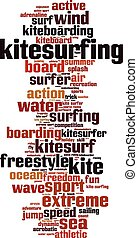 Kitesurfing word cloud concept Vector illustration