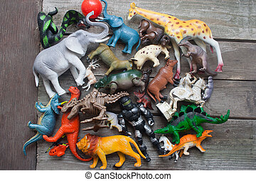Bunch of toys on a table - Animals, dinosaurs soldier bunch...