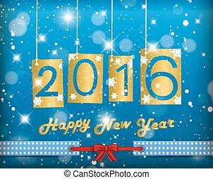 Happy New Year 2016 Blue Greeting Card
