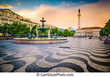 Rossio Square of Lisbon - Lisbon, Portugal cityscape at...