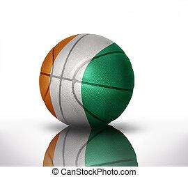 ivorian basketball - basketball ball with the national flag...