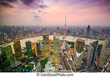 Shanghai Cityscape - Shanghai, China cityscape overlooking...