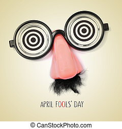 fake eyeglasses and text april fools day, with a retro...