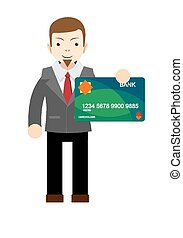 Businessman holding a bank card - flat design vector...