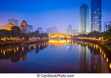 Chengdu River Skyline - Chengdu, China cityscape over the...