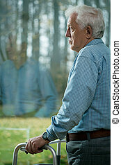 Depression in old age - Senior man suffering from depression...