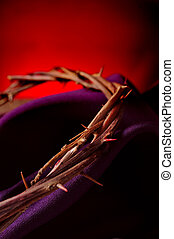 the crown of thorns of Jesus Christ - closeup of the the...
