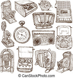 old objects - full sized hand drawn collection