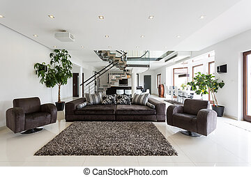 Modern front room with marble floor