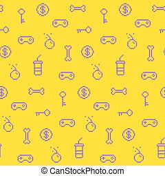 Seamless oldschool gaming inspired pattern, game icons,...