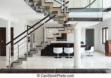 Stairs on the first floor - White marble stairs on the first...