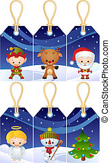 Christmas gift tags - Vector illustration - Christmas...