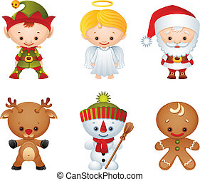 Christmas characters - Vector illustration - Christmas...