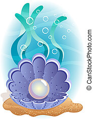 Pearl - Vector illustration - Pearl in the shell at the...