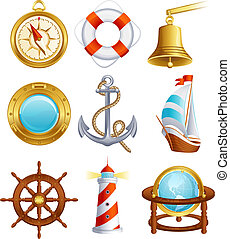 Sailing icon - Vector illustration - Sailing icon set