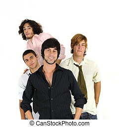 Casual male friends standing - Group of young casual male...