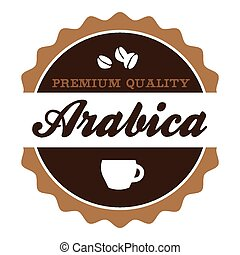 Vintage Arabica Coffee Label - Round vintage Arabica coffee...
