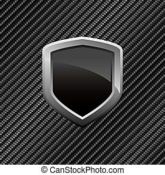 Carbon Fiber Shield Background - Black shield layout over a...
