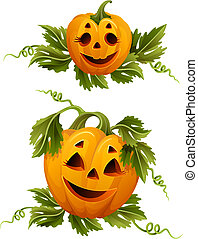 halloween pumpkins - Vector illustration - two halloween...