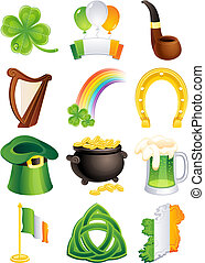 st. patrick\'s icon - Vector illustration - set of st....