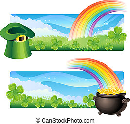 st. patrick\'s banners - Vector illustration - set of st....