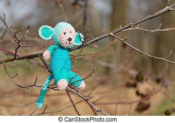 Selfmade stuffed monkey in tree - crocheted selfmade monkey...