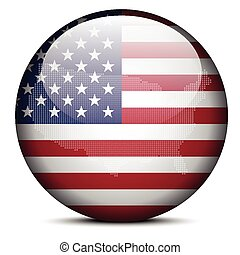 Map with Dot Pattern on flag button of United States of America