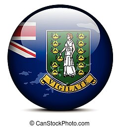 British Virgin Islands - Vector Image - Map on flag button...