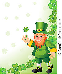 leprechaun - Vector illustration - leprechaun with clover in...