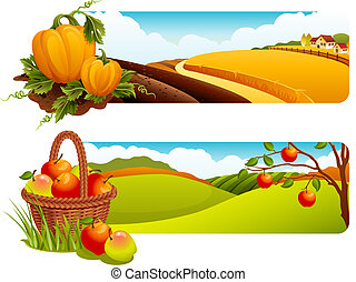 Harvest - Vector illustration - Autumn rural landscape...