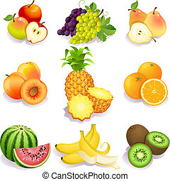 fruits - Vector illustration - set of fruits icons