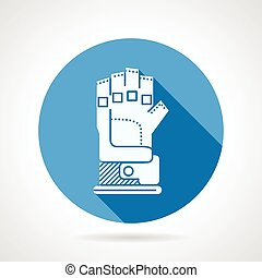Flat round icon for sport glove - Round blue vector icon...