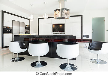 Dining room in residence - Big modern dining room in luxury...