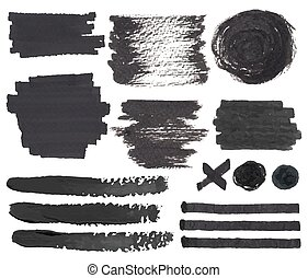 Felt pen spots and marks - Vector set of isolated on white...