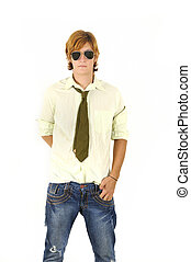 Cool male fashion model - Portrait of young trendy male...
