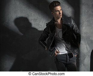 Portrait of a handsome male model - Portrait of a young...