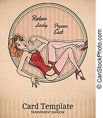 Vector retro pin-up woman illustration - Vector color retro...