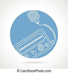 Radio transceiver round vector icon - Flat blue circle...
