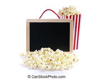 aislado, popcorn.,
